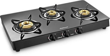 Sunflame Crystal Plus 3B BK AI  3 Burner Rectangle Gas Stove Price in India