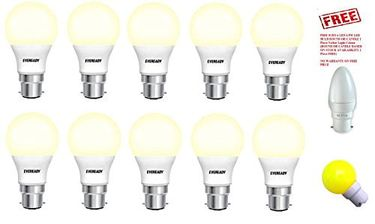 Eveready 7W LED Bulb (Yellow, Pack of 10) With (Free Surya 0.5W Round Or Candle LED Bulb) Price in India