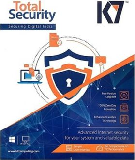 K7 Total Security 2017 7 PC 1 Year Antivirus Price in India