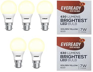 Eveready 7W B22 LED Bulb (Golden Yellow, Pack of 5) Price in India
