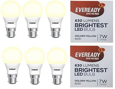 Eveready 7W B22 LED Bulb (Golden Yellow, Pack of 6) Price in India