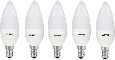Wipro Garnet 3W E14 LED Bulb (Yellow, Pack of 05) Price in India