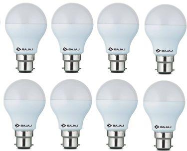 Bajaj 7W  B22 Round LED Bulb (White, Pack of 8) Price in India