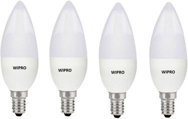 Wipro Garnet 3W E14 LED Bulb (Yellow, Pack of 4) Price in India
