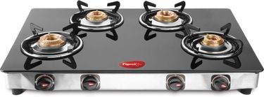 Pigeon Blackline Oval 4 Burner Glass Manual Gas Cooktop Price in India