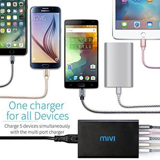 Mivi DC58Q3 8A 5-Port Desktop Charger Price in India
