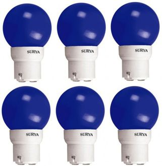 Surya 0.5W B22 LED Bulb (Blue, Pack of 6) Price in India