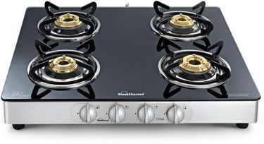 Sunflame Crystal 4 Burener SS Glass Manual Gas Cooktop Price in India