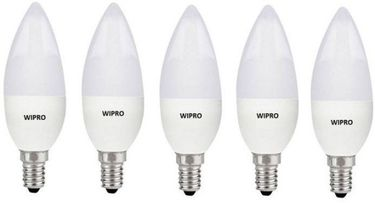 Wipro Garnet 3W E14 Candle LED Bulb (White, Pack of 5) Price in India