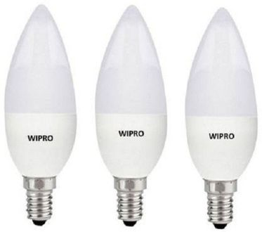 Wipro Garnet 3W E14 Candle LED Bulb (White, Pack of 3) Price in India