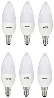 Wipro Garnet 3W E14 Candle LED Bulb (White, Pack of 6) Price in India