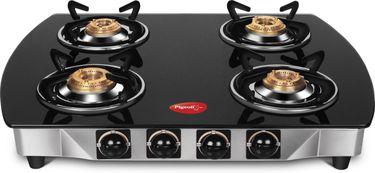 Pigeon 12271 Stainless Steel Glass Manual Gas Stove (4 Burner) Price in India