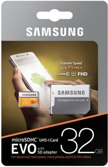 Samsung Evo 32GB MicroSDHC Class 10 (95MB/s) Memory Card (With Adapter) Price in India