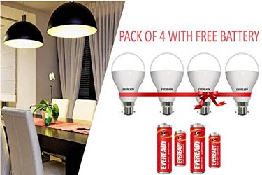 Eveready 7W B22 900L LED Bulb (White,Pack of 4) With 4-1015 AA Batteries Price in India