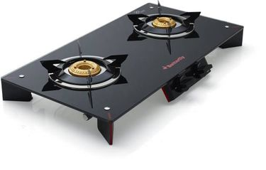Butterfly Prism Plus 2 Burner Glass Top Manual Gas Stove Hob Price in India