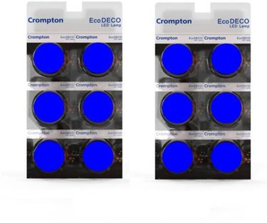 Crompton Eco Deco 0.5W Standard B22 45L LED Bulb (Blue,Pack of 12) Price in India