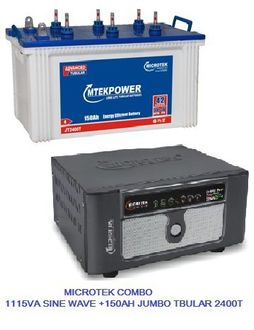 Microtek Combo Of 1115VA E2 Sine Wave UPS And JT 2400T Jumbo Tubular Battery Price in India