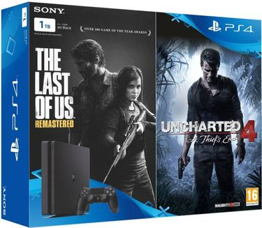 Sony PS4 500GB Slim Console (With the God of War, Uncharted 4 & Horizon Zero Down) Price in India