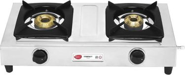 Pigeon Compact Stainless Steel Manual Gas Cooktop (2 Burners) Price in India