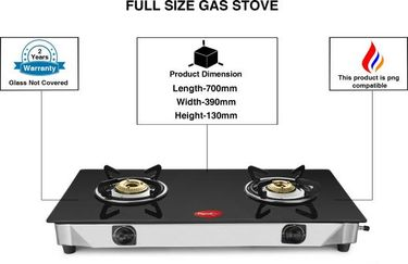Pigeon Sterling Glass Manual Gas Cooktop (2 Burners) Price in India
