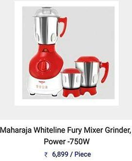 Maharaja Whiteline Fury 750W Mixer Grinder (3 Jars) Price in India