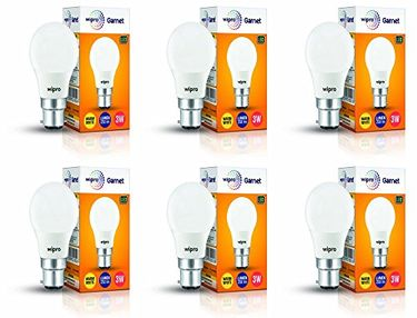 Wipro Garnet 3W B22 LED Bulb (Warm White, Pack of 6) Price in India