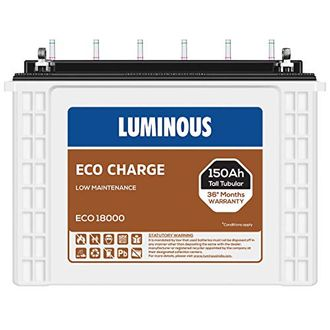 Luminous Eco Charge Eco18000 150Ah Tall Tubular Battery Price in India