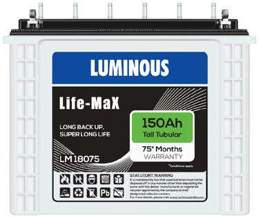 Luminous Life Max LM18075 150Ah Tall Tubular Battery Price in India