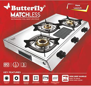 Butterfly Matchless Stainless Steel Manual Gas Stove(3 Burners) Price in India