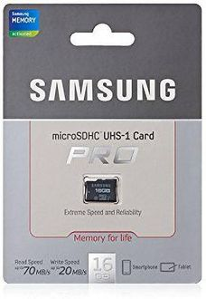Samsung Pro 16GB MicroSDHC Class 10 (70MB/s) UHS-1 Memory Card Price in India
