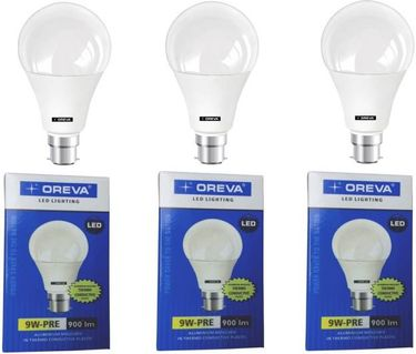 Oreva 9W Premium B22 LED Bulb (White, Pack of 3) Price in India