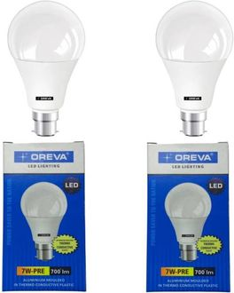 Oreva Premium 7W Standard B22 LED Bulb (White, Pack of 2) Price in India