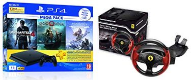 Sony PS4 1TB Slim Console (Free Games: God of War/Uncharted 4/Horizon Zero Dawn)   Thrustmaster Racing Wheel for PS3/PC - Ferrari Legend Edition Price in India