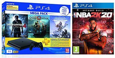 Sony PS4 1 TB Slim Console (God of War, Uncharted 4, Horizon Zero Dawn & NBA 2K20) Price in India