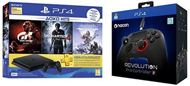 Sony PS4 500 GB Slim Console (Nacon Revolution Pro Controller 2,Uncharted 4, Horizon Zero Dawn,Gran Turismo Sport) Price in India