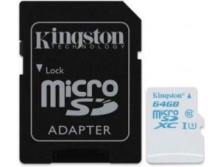 Kingston SDCAC/64GB 64GB Class 10 MicroSDXC Memory Card Price in India