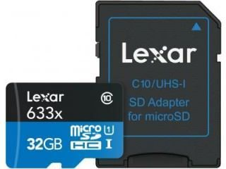Lexar LSDMI32GBBNL633A 32GB Class 10 MicroSDHC Memory Card Price in India