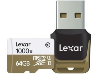 Lexar LSDMI64GCBNL1000R 64GB Class 10 MicroSDXC Memory Card Price in India