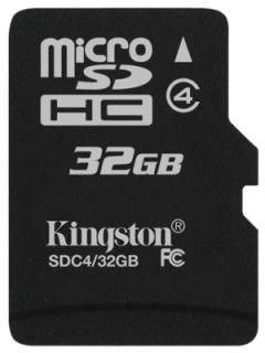 Kingston SDC4/32GBSP 32GB Class 4 MicroSDHC Memory Card Price in India