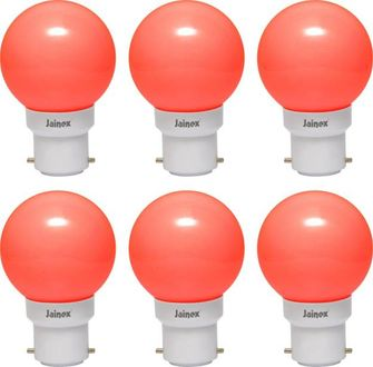 Jainex 0.5W Round B22 Night Bulb (Red, Pack of 6) Price in India