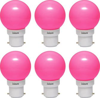 Jainex 0.5W Round B22 Night Bulb (Pink, Pack of 6) Price in India