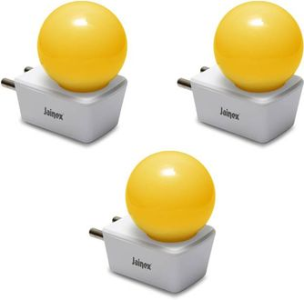 Jainex 0.5W Round Plug & Play Night Bulb (Yellow, Pack of 3) Price in India