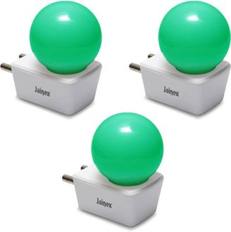Jainex 0.5W Round Plug & Play Night Bulb (Green, Pack of 3) Price in India