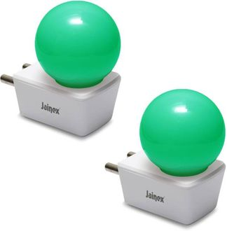 Jainex 0.5W Round Plug & Play Night Bulb (Green, Pack of 2) Price in India