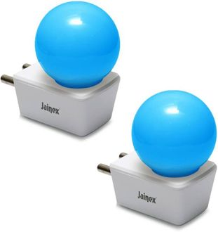 Jainex 0.5W Round Plug & Play Night Bulb (Blue, Pack of 2) Price in India