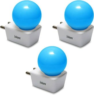 Jainex 0.5W Round Plug & Play Night Bulb (Blue, Pack of 3) Price in India