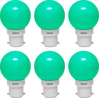 Jainex 0.5W Round B22 Night Bulb (Green, Pack of 6) Price in India