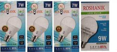 Roshanik 7W, 9W Standard B22 LED Bulb (White, Pack of 4) Price in India