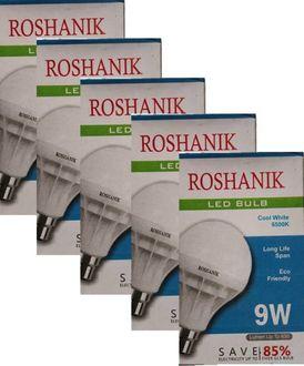 Roshanik 9W Standard B22 LED Bulb (White, Pack of 5) Price in India