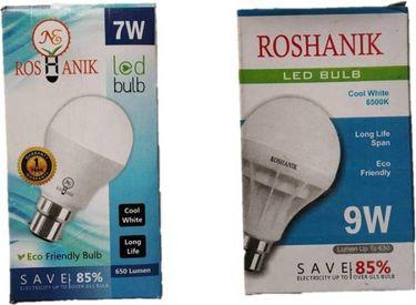 Roshanik 7W, 9W Standard B22 LED Bulb (White, Pack of 2) Price in India